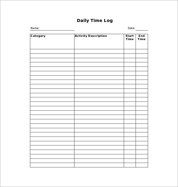 Time Log Templates 14+ Free Printable Word, Excel  PDF My likes