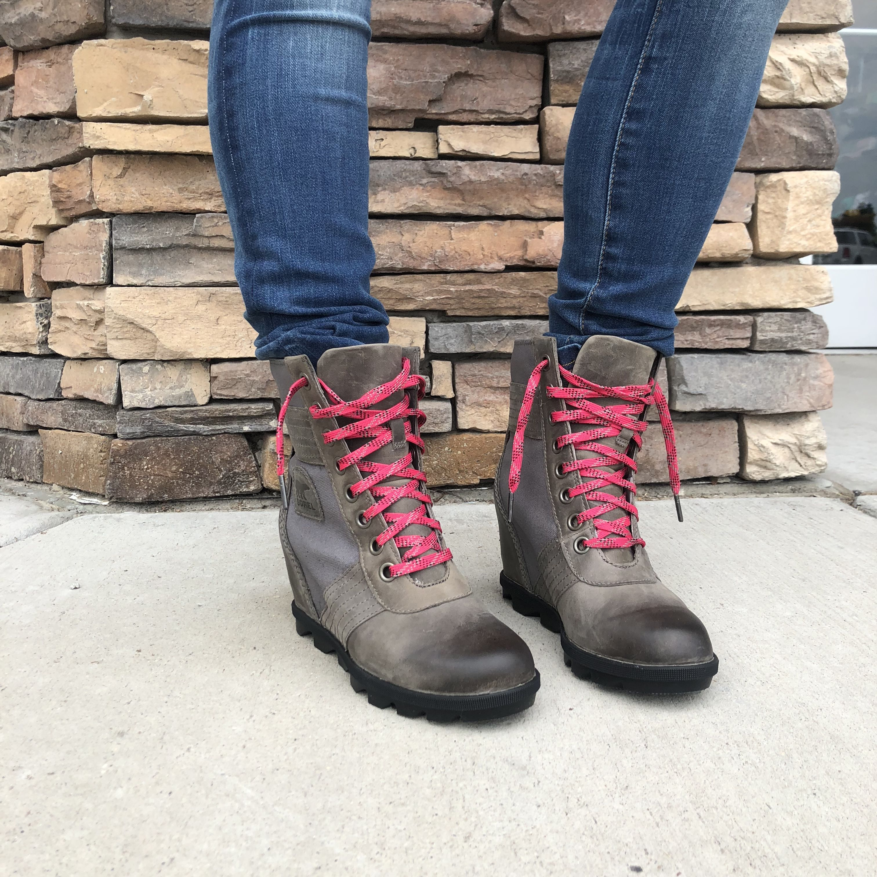 7c3b6e608f4 We love the amazing distressed leather offset with the pop of pink in the  laces. Combine that with the fact these are the MOST COMFY boots you will  ever own ...