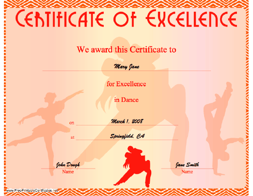 A certificate of excellence in dancing, illustrated with dancers ...