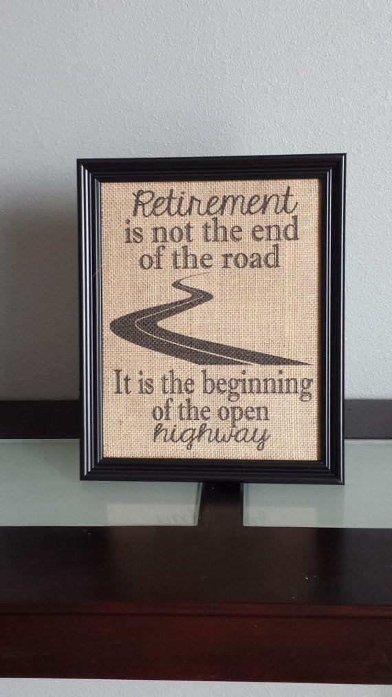 Framed Burlap Print Retirement Print