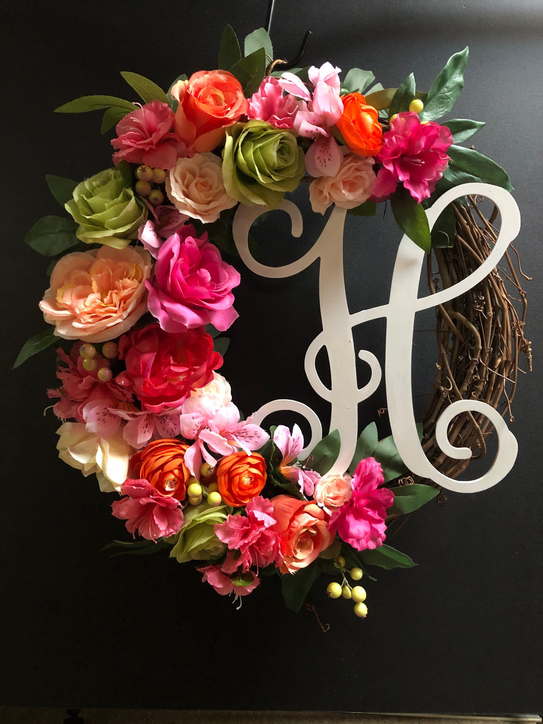 Photo of Wreath for front door, spring wreath, floral wreath, wreaths for front door, annual round, wedding gift, summer wreath, Christmas gift
