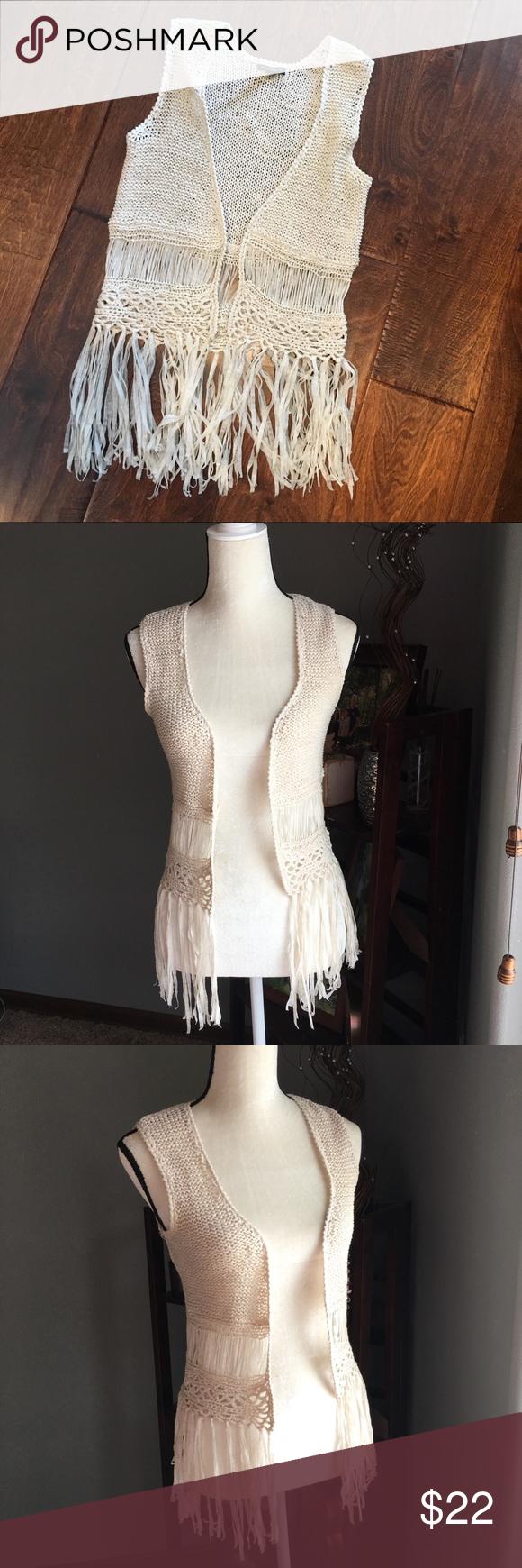 host pick boho style crochet fringe vest crochet fringe