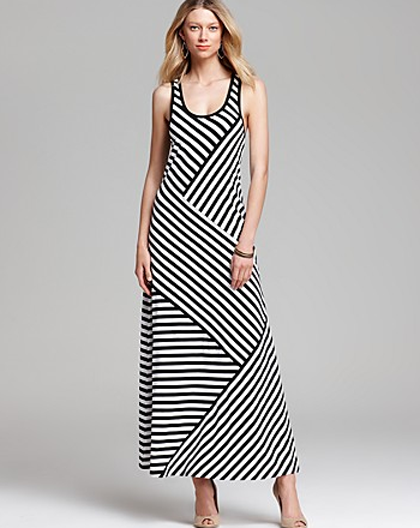 57b99751c1 DKNY Black and White Striped Scoop Neck Racerback Maxi Dress in Black White  as seen on Kim Kardashian