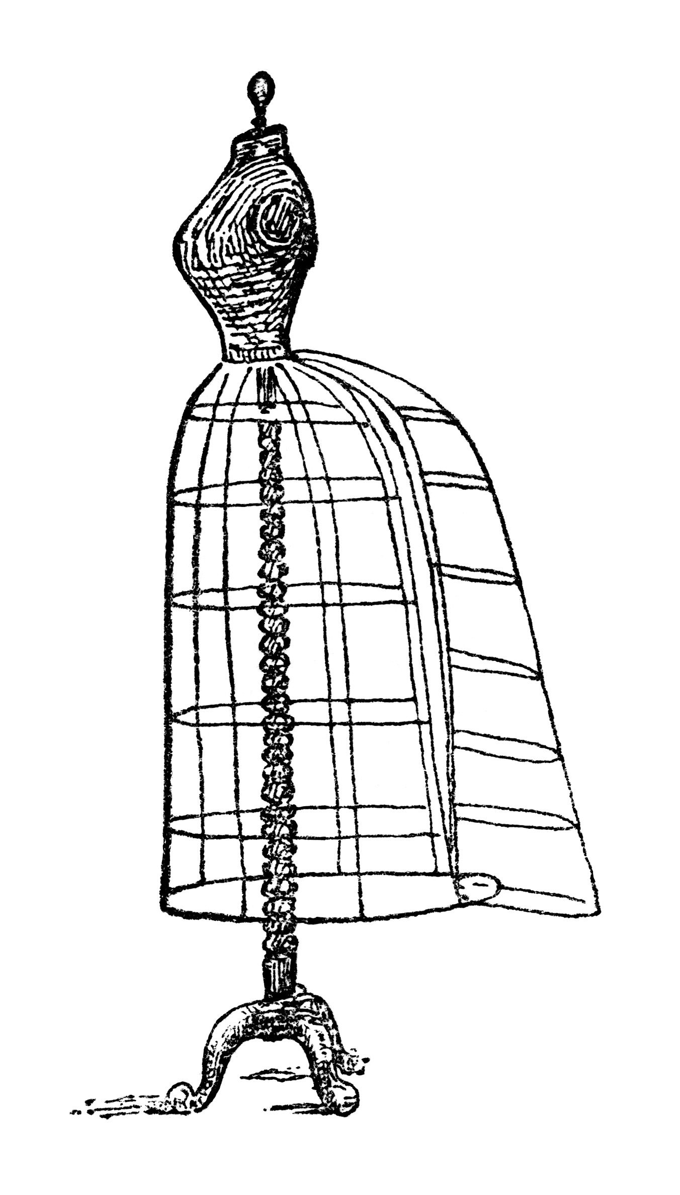 sewing machine clip art black and white sewing clip art black and white clipart wire dress form illustration [ 1352 x 2376 Pixel ]