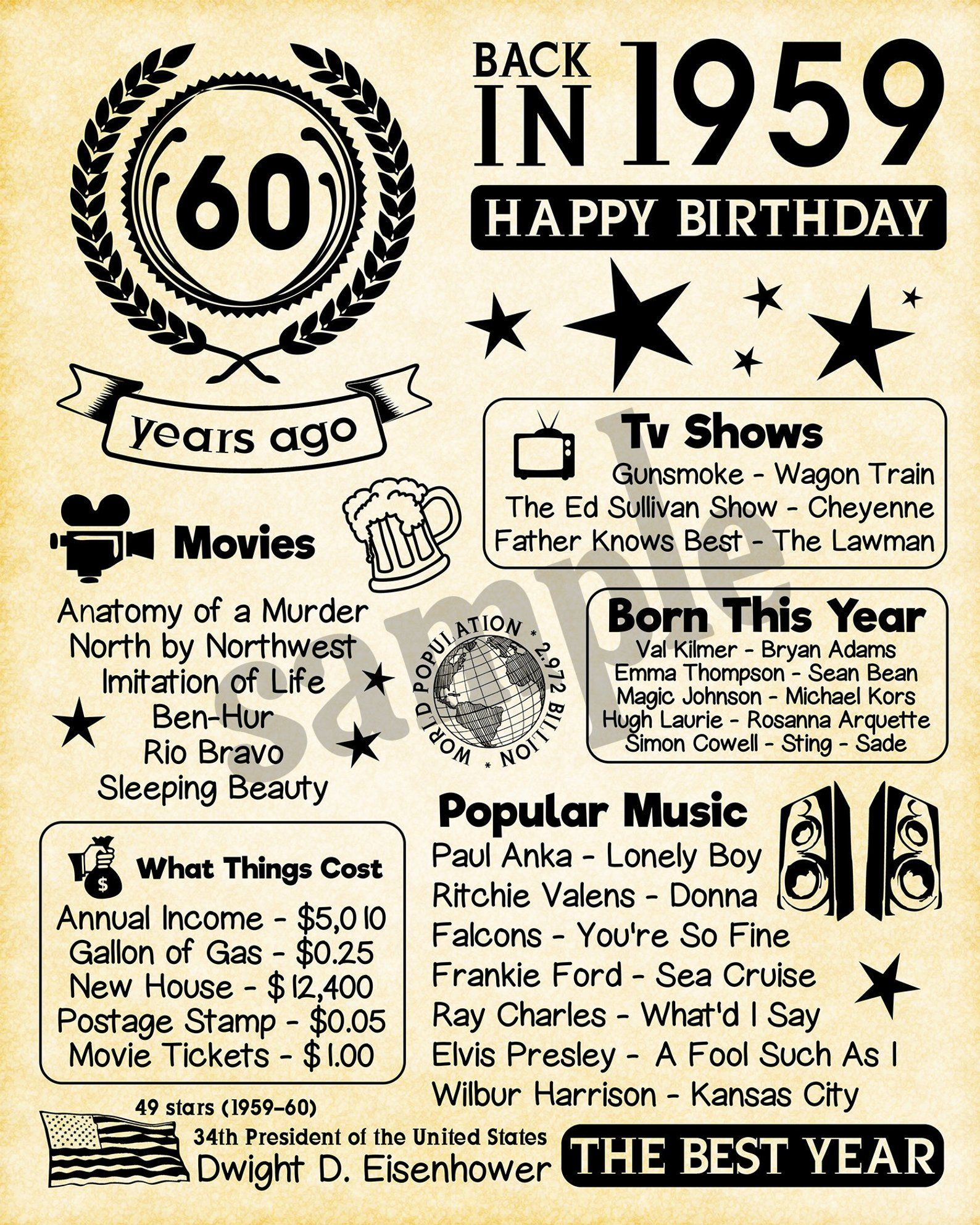 1959 Fun Facts 1959 60th Birthday Gift For Husband Gift For Dad Father For Parents 60th Birthday Ideas For Dad 60th Birthday Ideas For Mom Dad Birthday