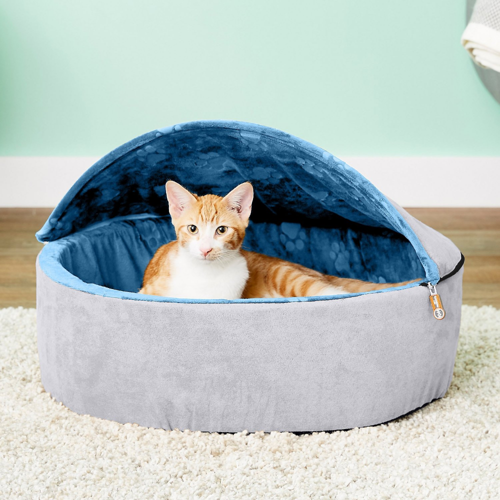 K&H Pet Products SelfWarming Hooded Cat Bed, Chocolate