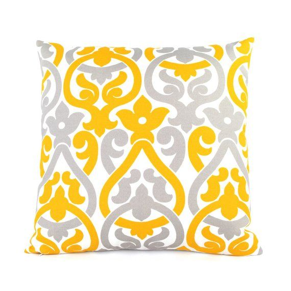 Floral /& Stripes Yellow and Gray Pillow cover Throw Pillowcase