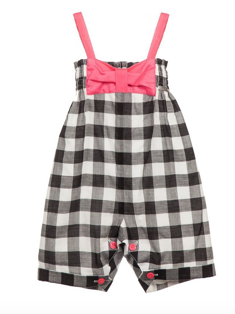 JUNIOR GAULTIER Baby Black And White Checkers Gingham Bubble Bow Overalls