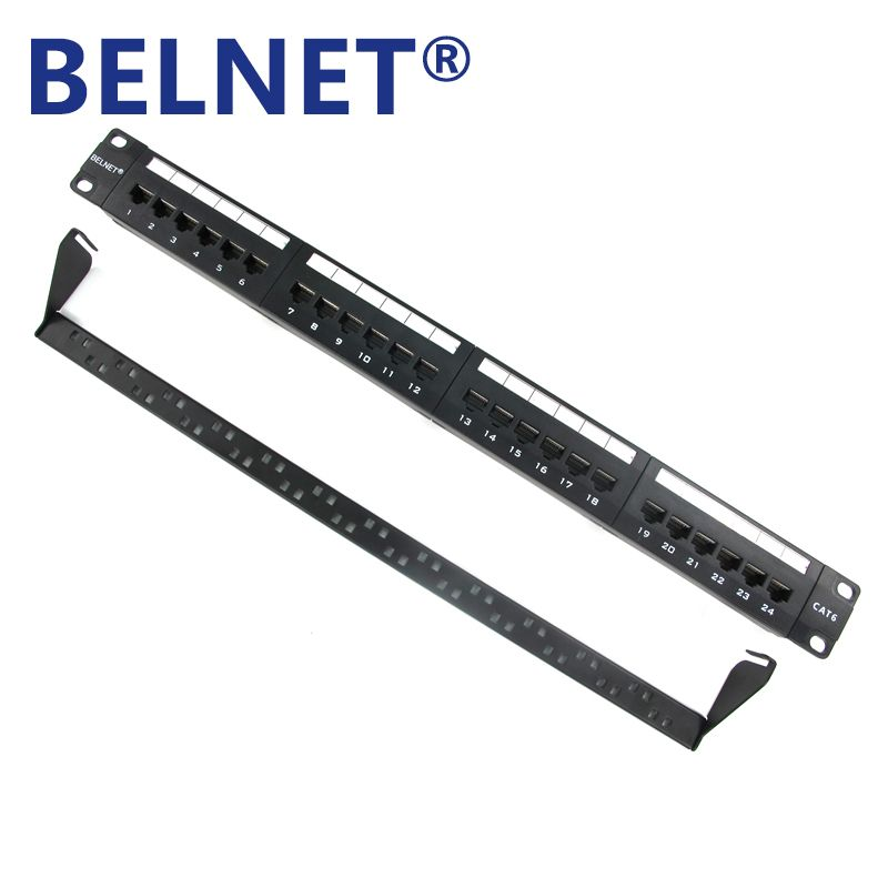 Belnet 24 Port Rj45 Cat6 Patch Panel 1u 19 Inch Utp Unshield Rack Mount Metal Gig Ethernet Lan Network Cable Adapte Patch Panel Network Cable Cable Management