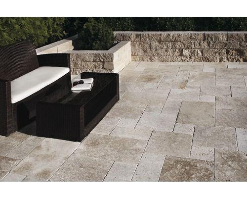 Dalles pour terrasses Travertin Roma crème set pour pose romaine u003d 1 - pose dalle terrasse sur beton