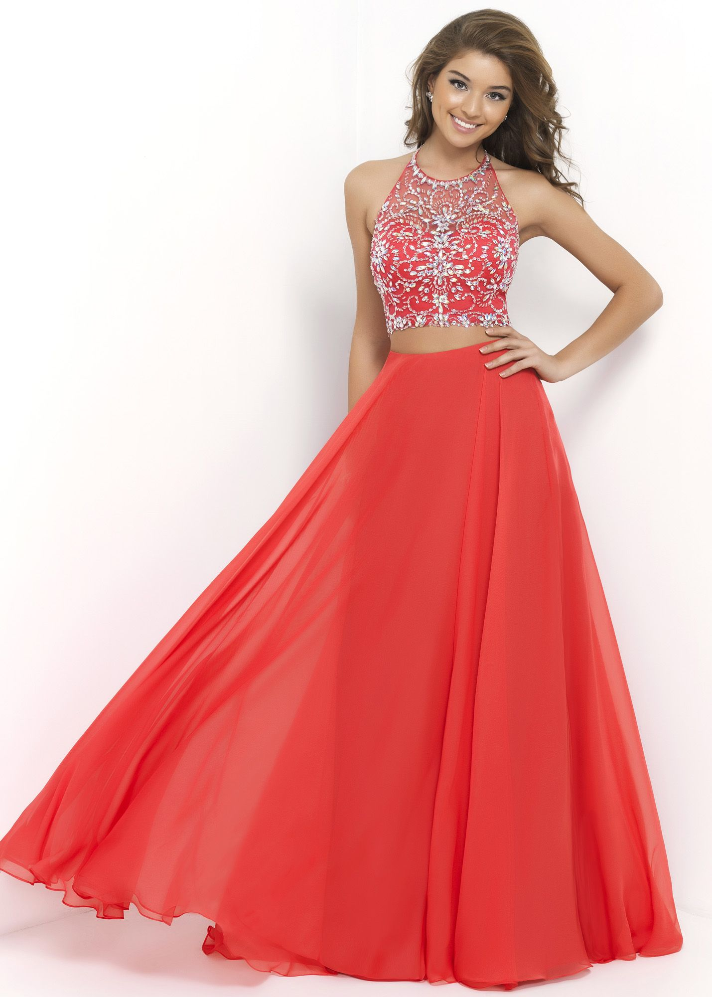 948402031f Blush 9935 Beaded Two Piece Prom Dress