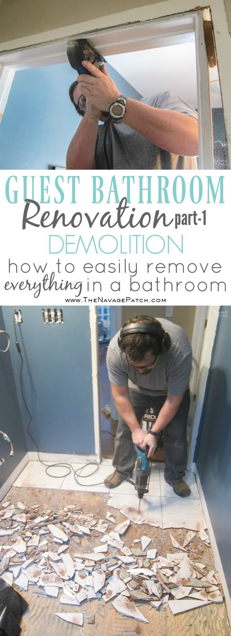 Guest Bathroom Renovation Part 1 Demolition Baseboard Tile