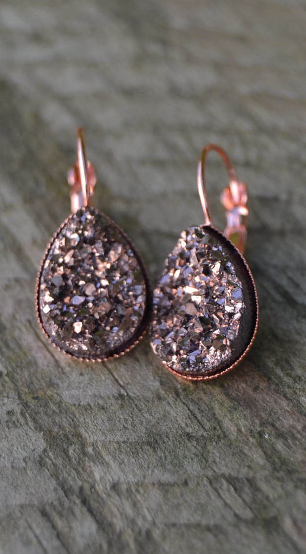 Rose gold druzy jewelry Pinterest Rose Gold and Gold jewellery