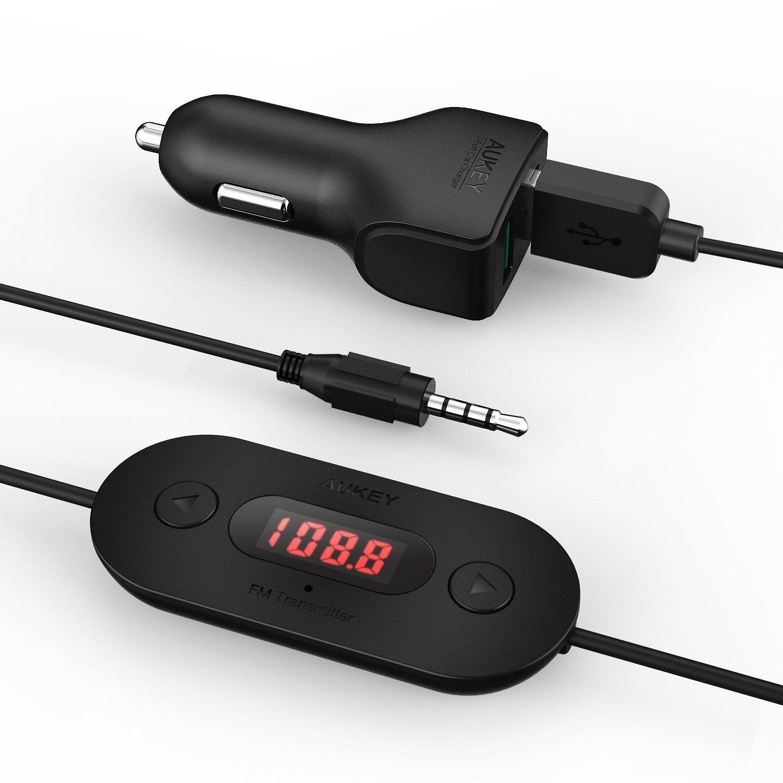 AUKEY Wireless FM Transmitter Radio Adapter Car Kit with 3