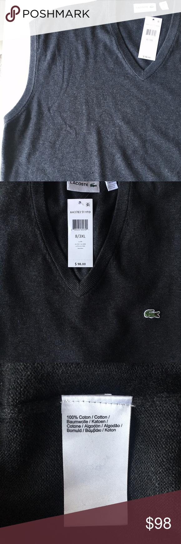 3bd75b65 LACOSTE Men's V-Neck Sleeveless Sweater Vest 3xl LACOSTE Men's V ...