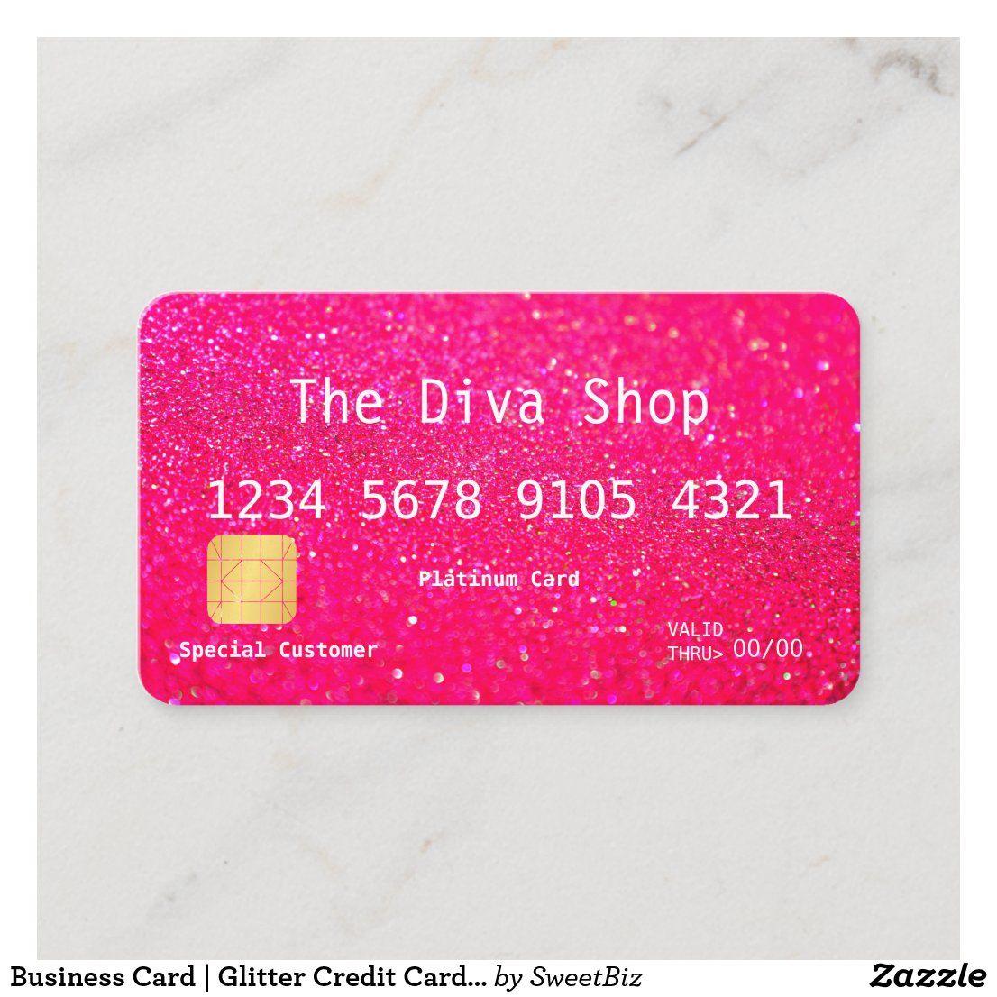 Business Card Glitter Credit Card Pink Zazzle Com Credit Card Design Best Credit Cards Business Credit Cards
