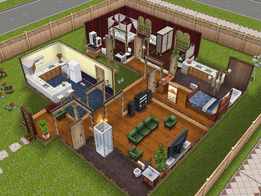 Easy Single Story House Sims Freeplay