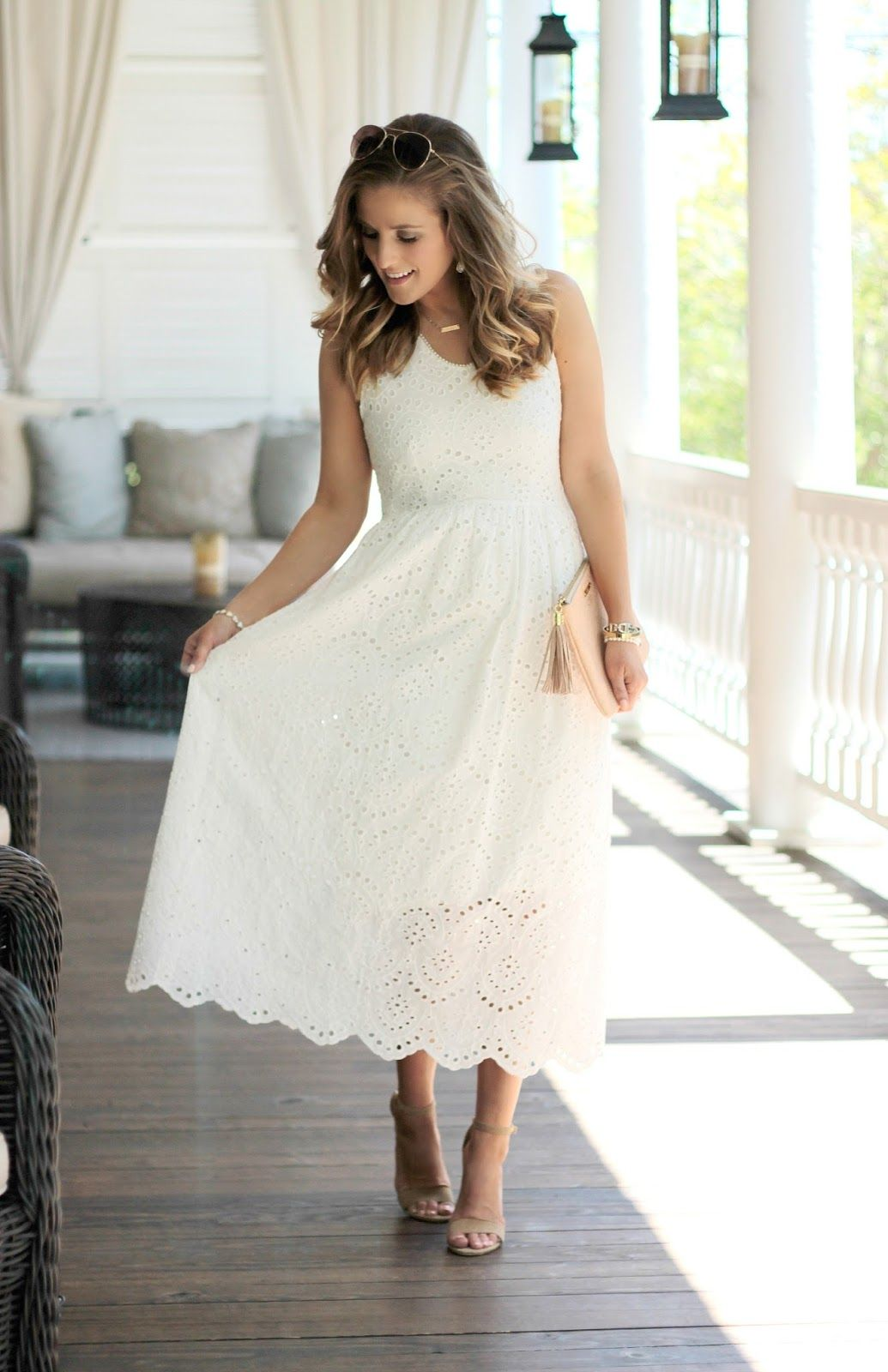 41d9baa48 Eyelet dresses are my favorite! White Sundress Wedding, White Wedding  Dresses, White Eyelet