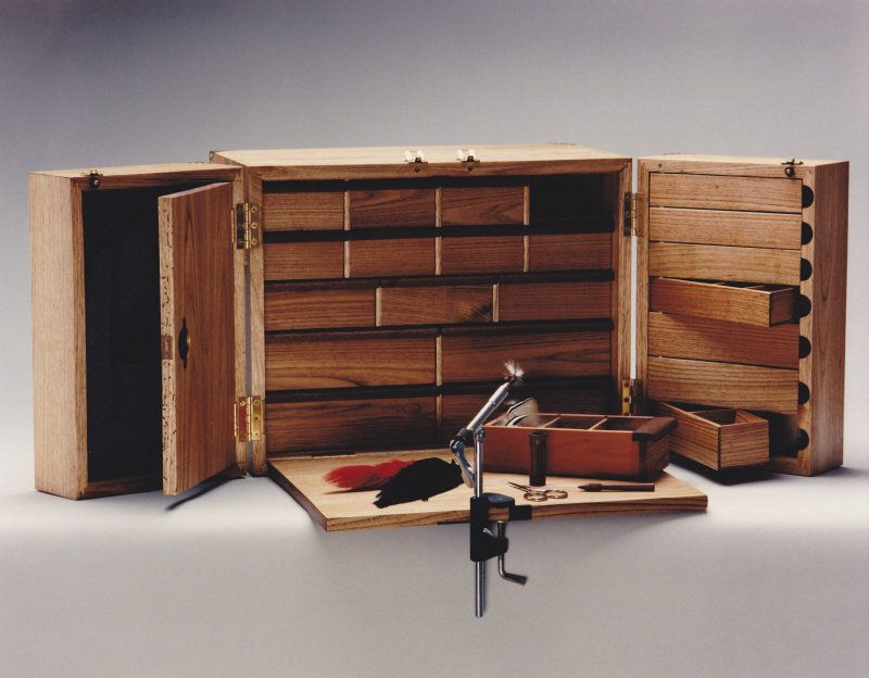Portable Wood Storage Cabinet : Fly tying cabinet with storage and folding work surface