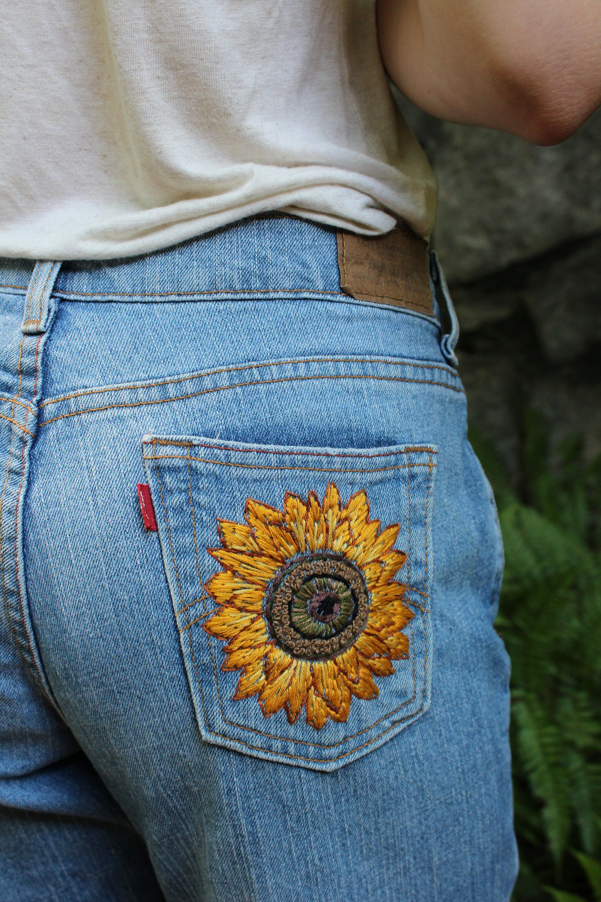 Custom handembroidered jean pocket etsy with images