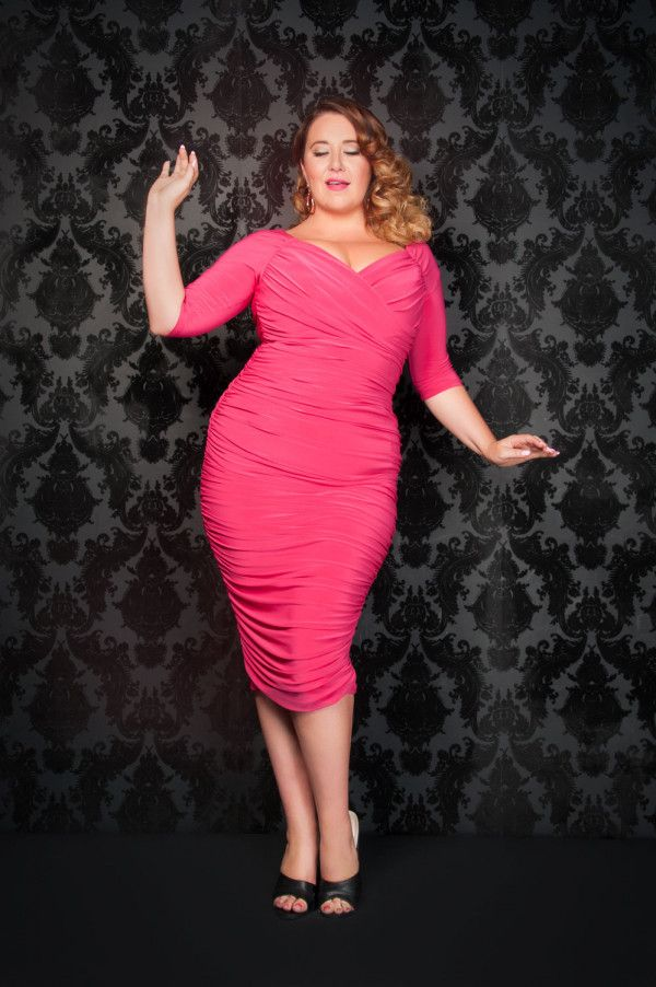 Laura Byrnes California Plus Size Monica Dress In Hot Pink