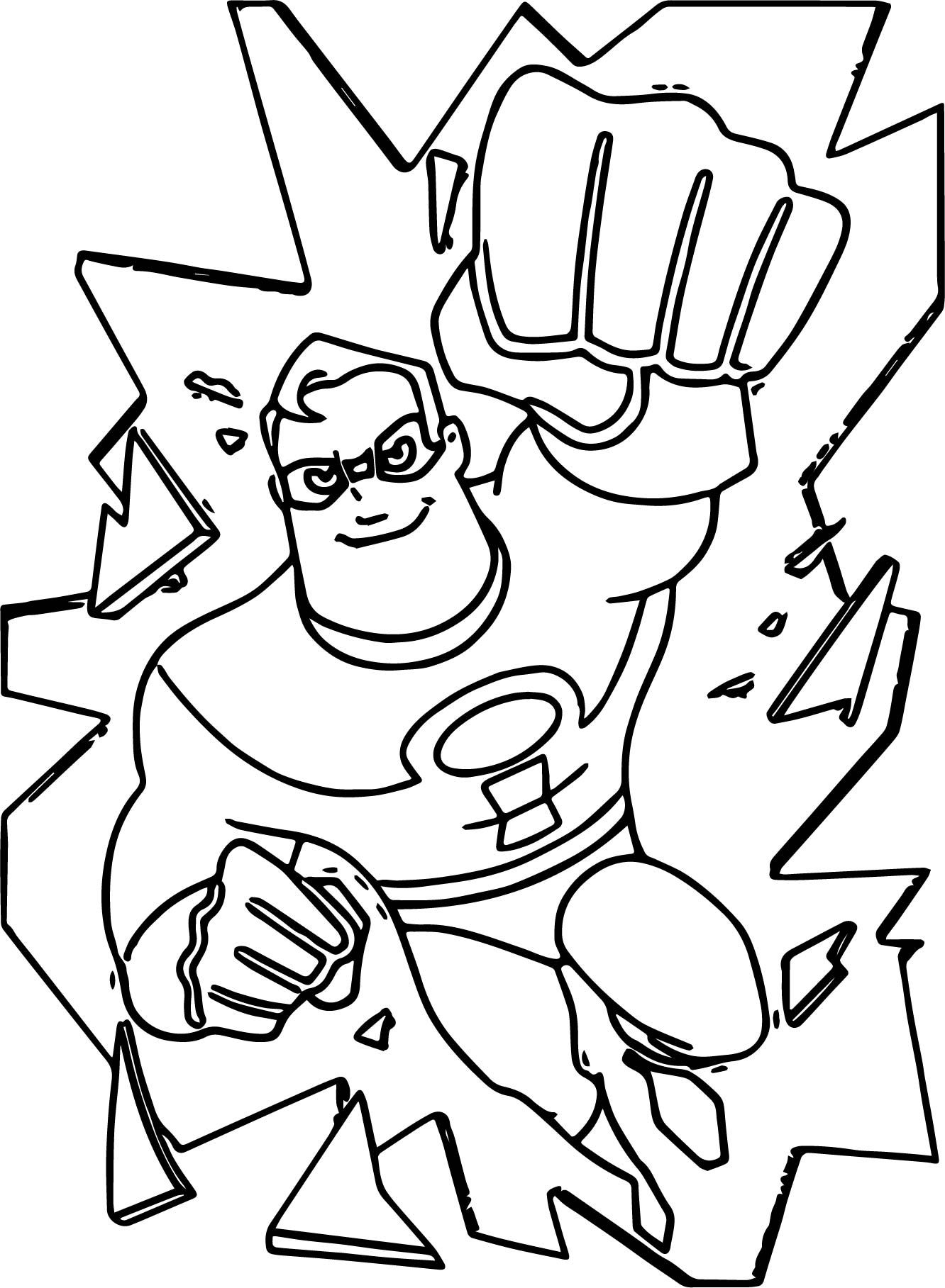 cool The Incredibles Broken Glass Coloring Pages