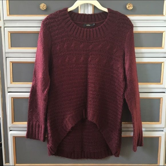 688600c6f3 Chunky maroon cable knit sweater Loose cable knit Millau hi-lo sweater.  Soft and
