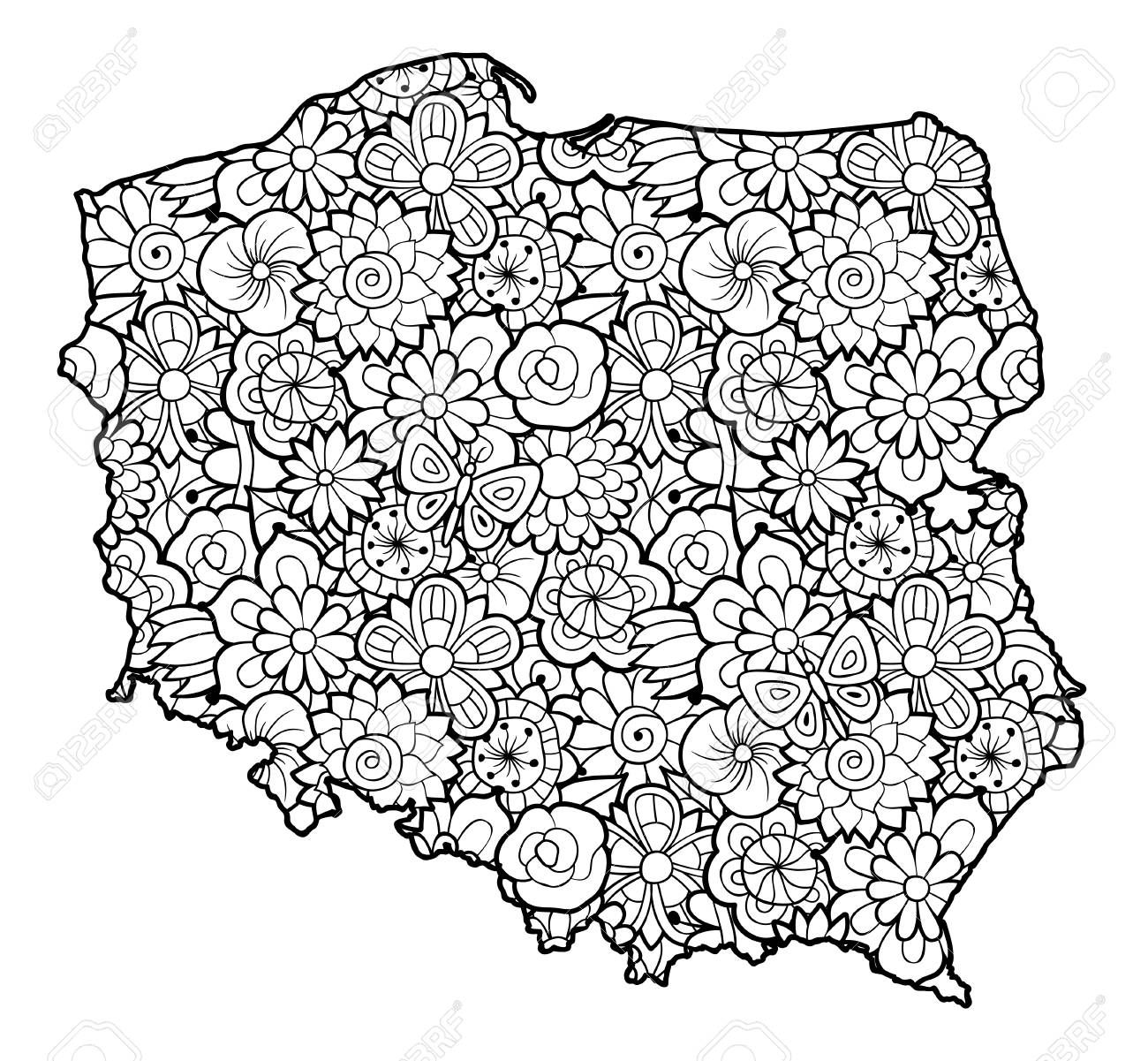 Map Of Poland With Flowers Black And White Vector Illustration