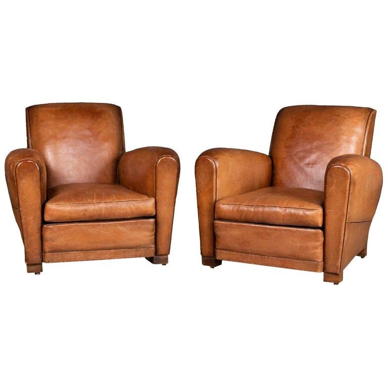 Pair Of 20th Century Leather Club Chairs Circa 1930 Leather Club Chairs Club Chairs Club Armchair Leather club chairs for sale
