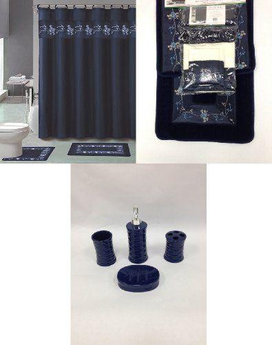22 Piece Bath Accessory Set Navy Blue Flower Bathroom Rug Set Shower Curtain Accessories Bath Accessories Set Bathroom Rug Sets Navy Shower Curtain