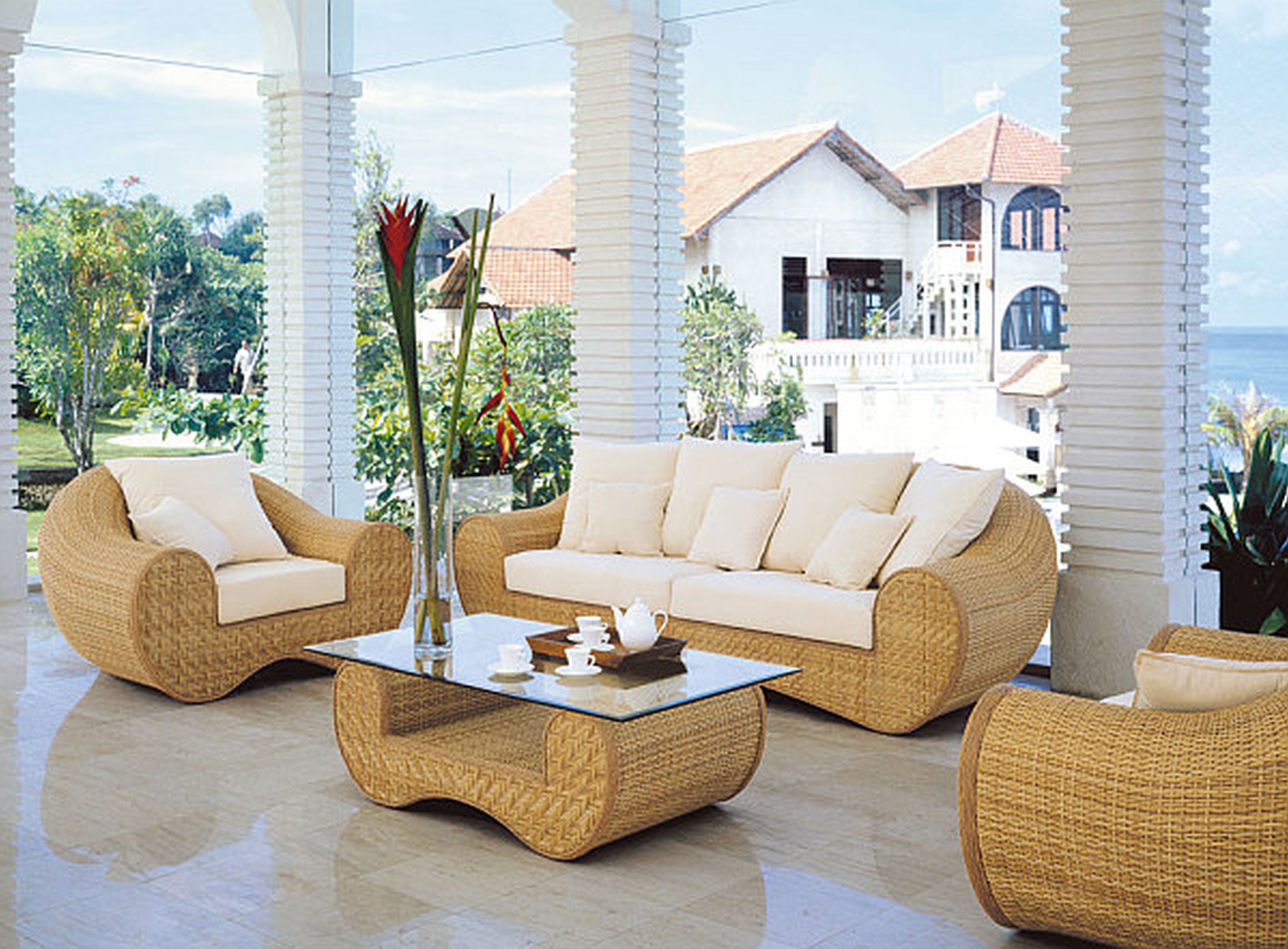 Natural And Traditional Indoor Wicker Furniture For Interior Decor Idea:  Cream Rattan With White Cuhsion