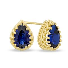 Zales Pear-Shaped Lab-Created Blue Sapphire Crown Earrings in Sterling Silver with 14K Gold Plate 98i7QK4v4s