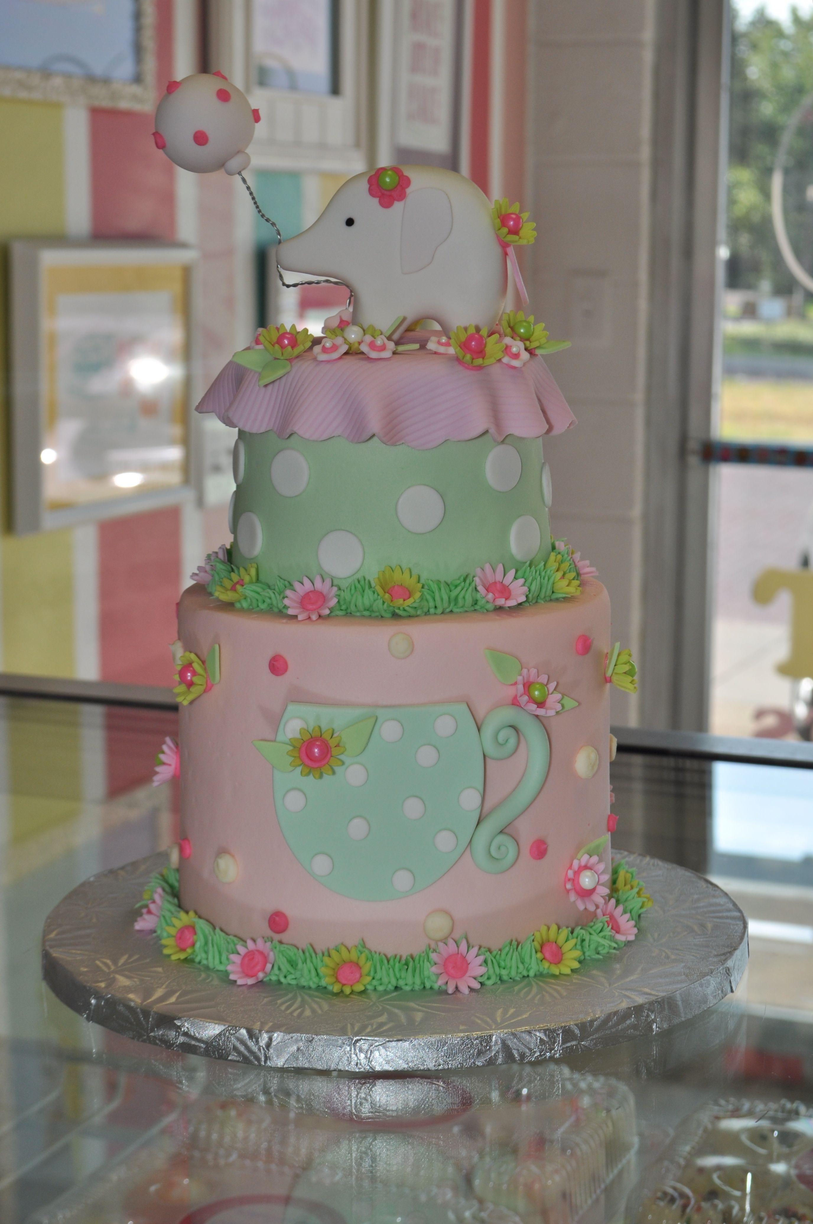 elephant tea party girly baby shower cake pink and green. Black Bedroom Furniture Sets. Home Design Ideas