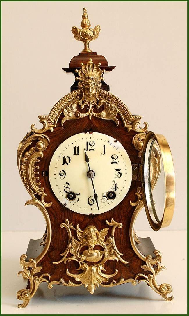 Secci n madera original y hermoso reloj antiguo alem n - Relojes antiguos de mesa ...