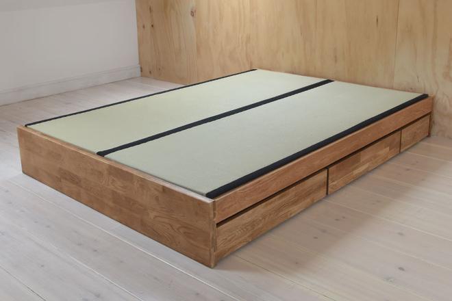 Oak Platform Double Storage Bed Tatami bed, Bed frame