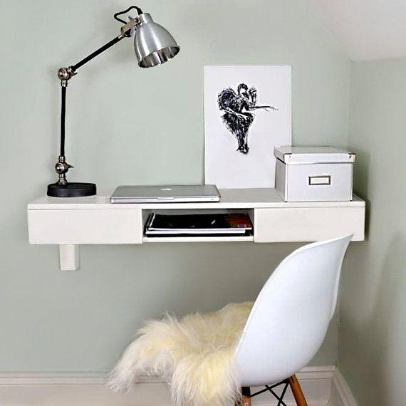 Floating Beech Desk Floating Desk Wall Mounted Desk White
