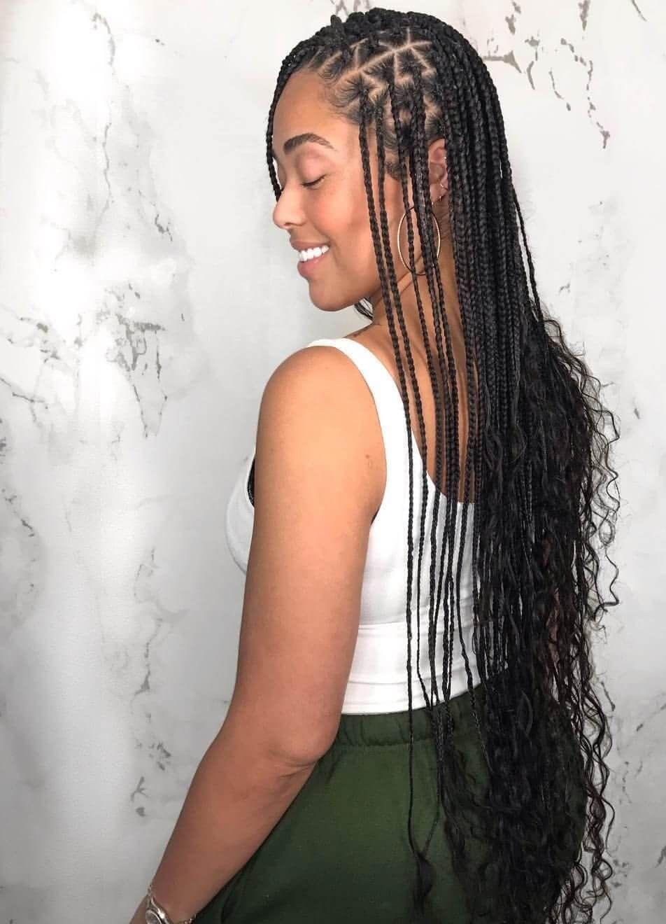 Patterned Narrow Long Knotless Box Braid | Box braids hairstyles ...