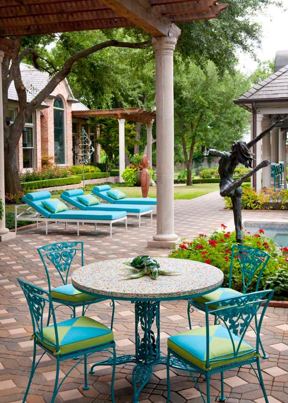 lime green patio furniture. Colorful Patio Furniture In Bright Turquoise And Lime Green Bring Fun Energy To This Outdoor Space