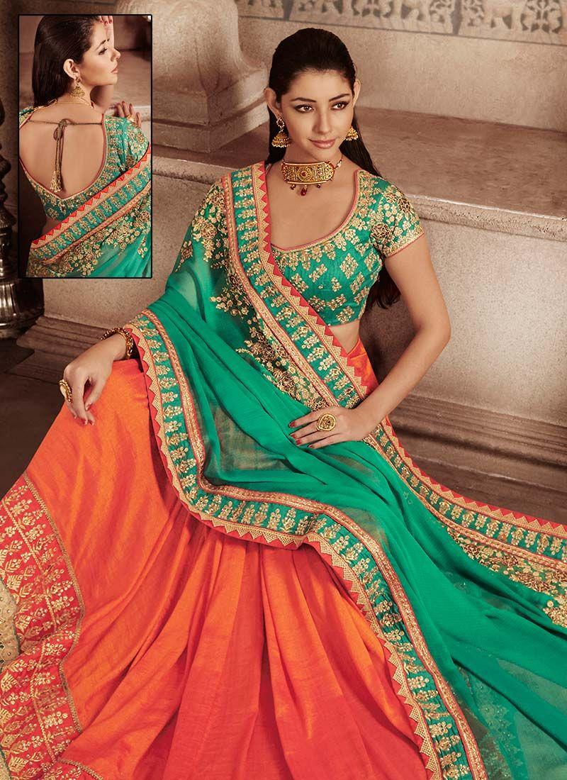 Women fashion saree orange n sea green half n half saree  salwar  pinterest  half