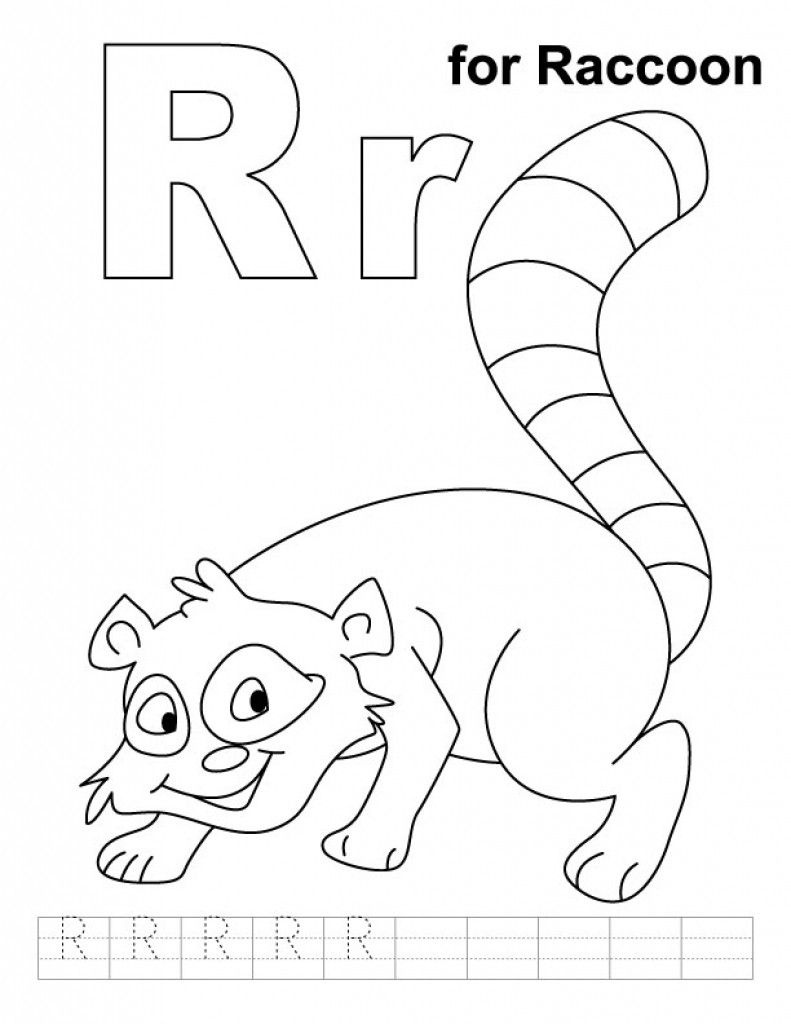 R For Raccoon Coloring Page With Handwriting Practice | Animal ...