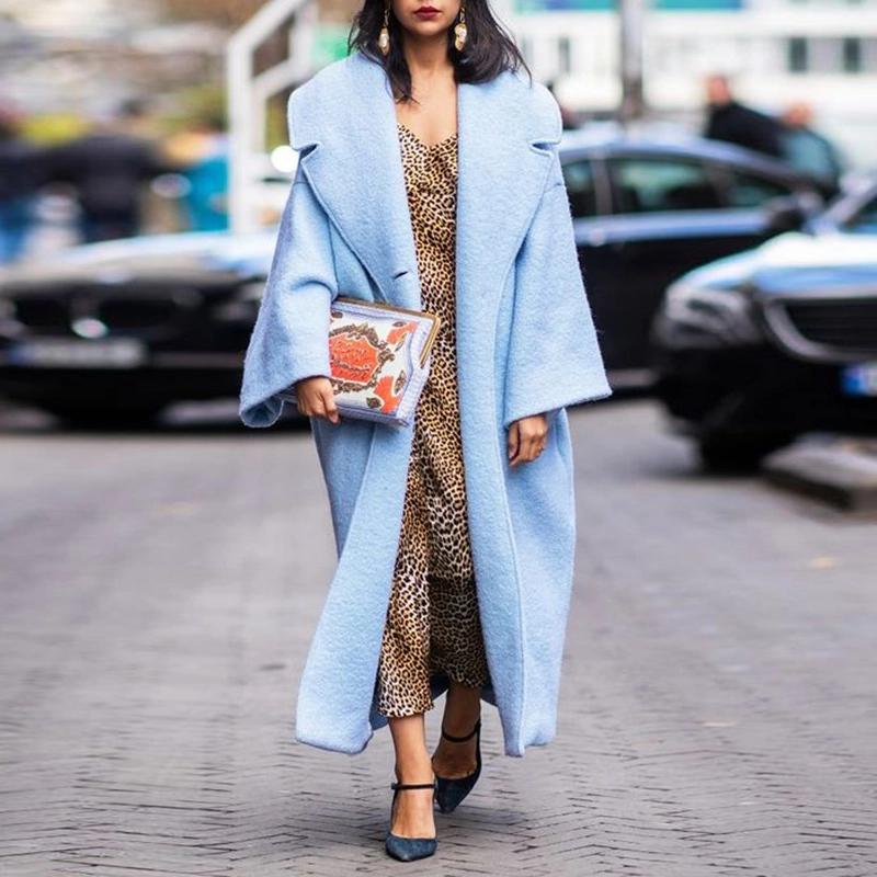 Fashion Pure Color A Lapel Long Sleeve Cotton Coat