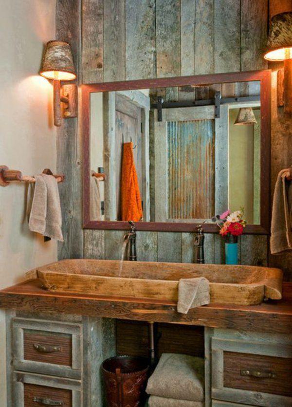 Rustikale Badezimmer Design Holz Waschbecken Spiegel Lampe Idee