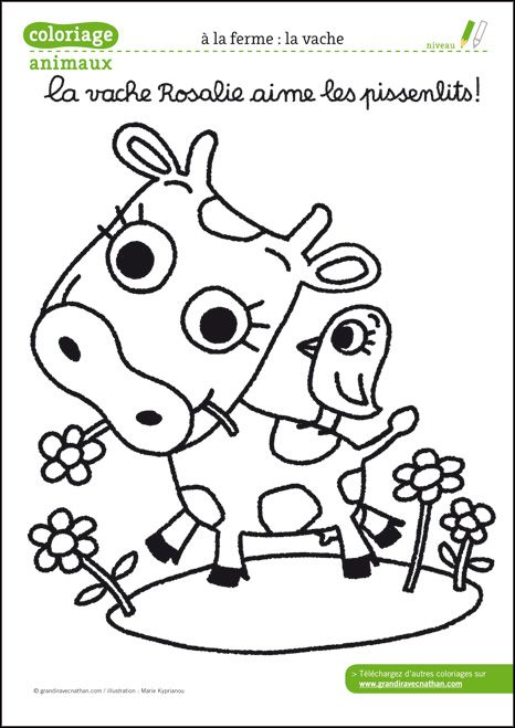 Coloriage animaux de la ferme t l charger pdf la vache ferme coloriage animaux de la - Dessin de ferme ...