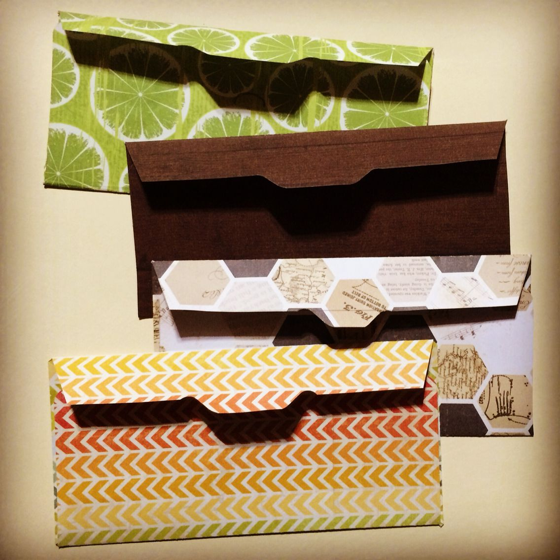 paper envelopes created with template from a bank cash envelope