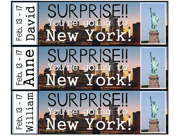 Surprise!! Youre going to New York! Make someones day ...