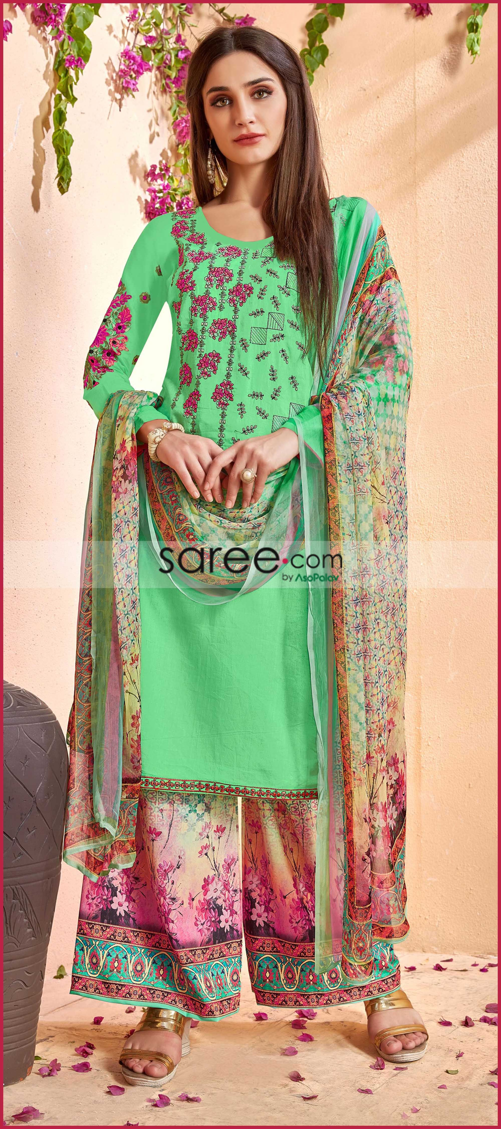 8d5a714518 Green Cotton Palazzo Suit with Thread Embroidery | Gharara & Sharara ...