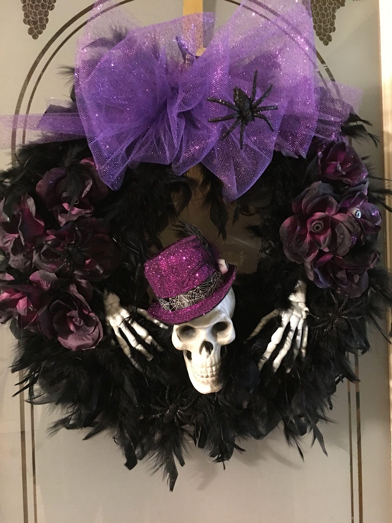 Beautiful Halloween Wreath Mardi Gras Style