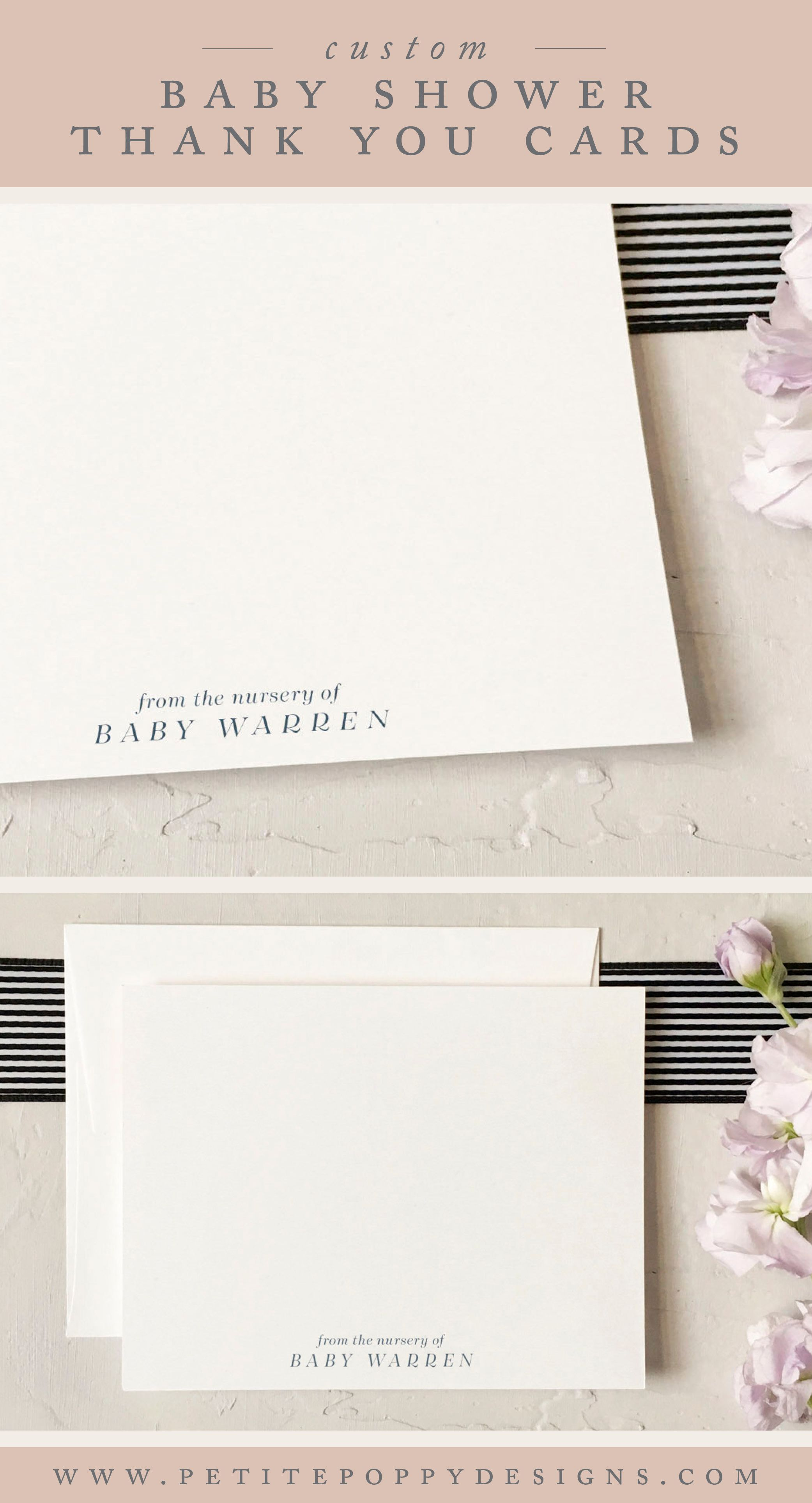 personalized from the nursery of notecards simple and elegant baby