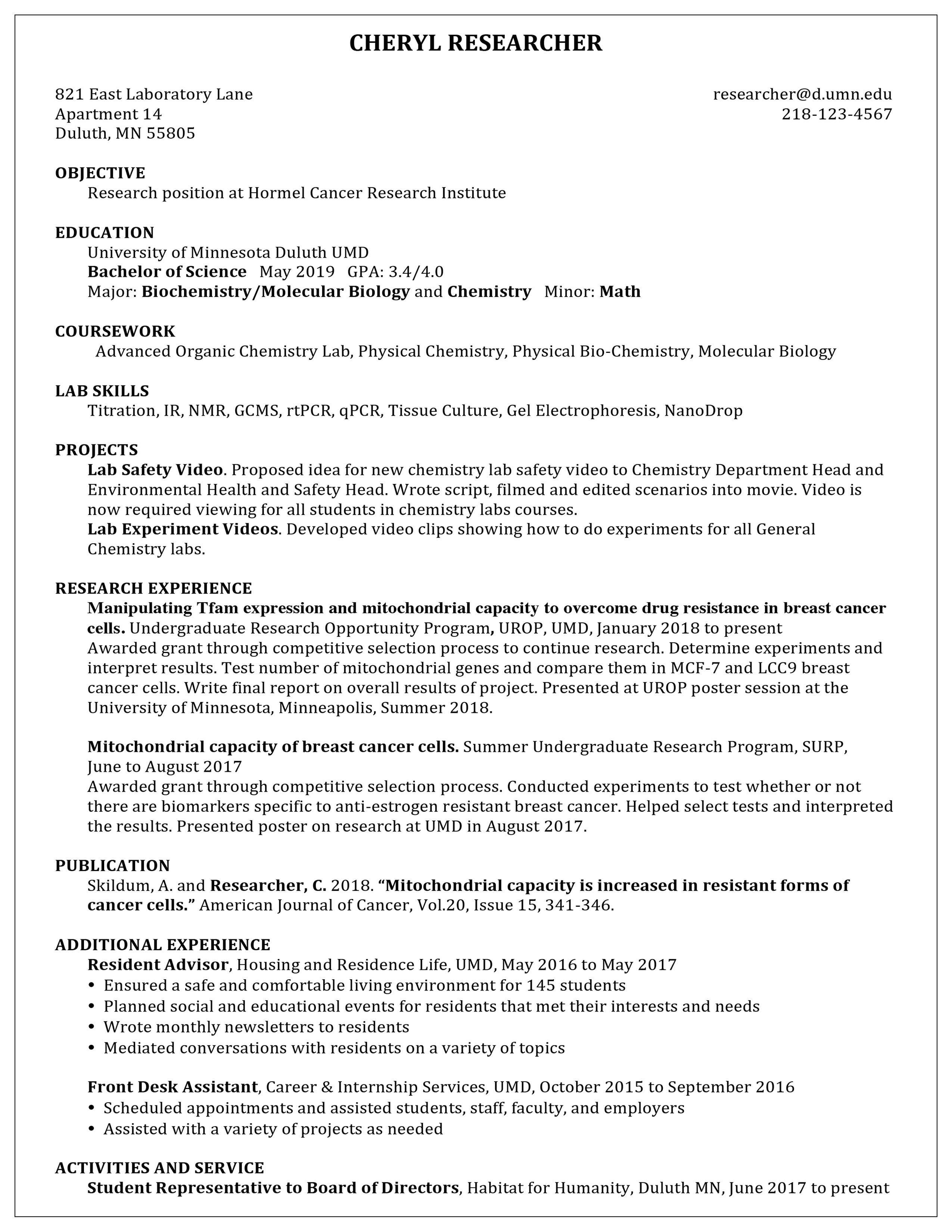 bachelor of science biology resume
