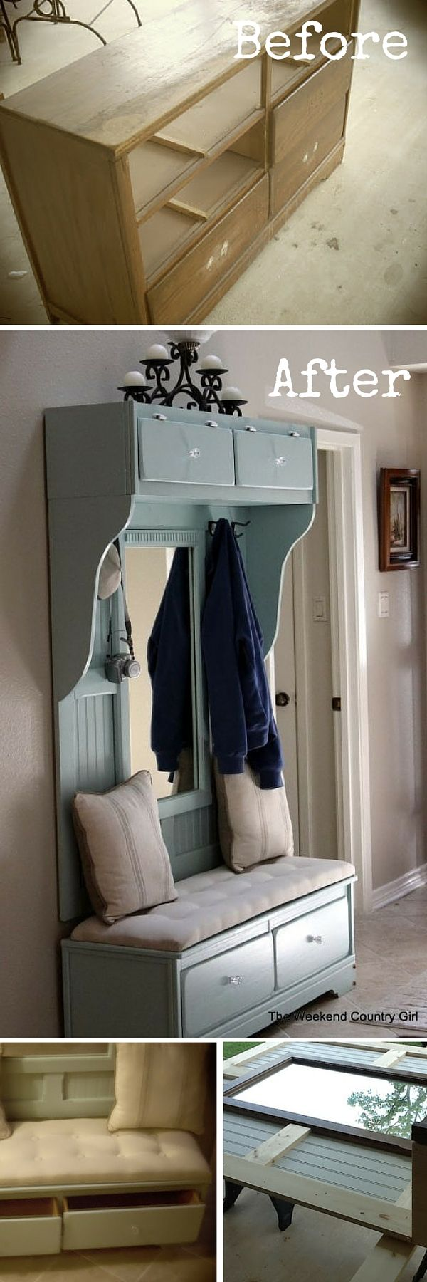 Check out the tutorial: #DIY Turn a Dresser into a Mudroom Bench #crafts